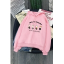 Preppy Looks Long Sleeve Drawstring Letter MY FRIENDS Cartoon Character Pattern Relaxed Fit Hoodie for Girls