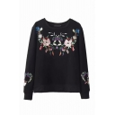 Ladies Fashion Chic Flower Embroidery Crewneck Long Sleeves Black Thick Sweatshirt