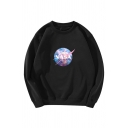 Creative Letter NASA Galaxy Starry Sky Print Round Neck Long Sleeves Baggy Pullover Sweatshirt