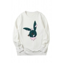 Lovely Cartoon Rabbit Printed Long Sleeves Crew Neck Loose Fit Pullover Sweatshirt