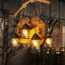 House White Fabric/Clear Glass Island Pendant Antique 6 Lights Restaurant Ceiling Light in Brown