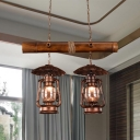 Vintage Kerosene Island Lamp 2 Lights Clear Glass Ceiling Light in Red Brown for Dining Room