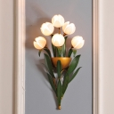 Green 6 Lights Wall Lamp Traditional Pink Glass Narcissu Wall Mount Light for Bedroom