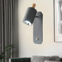 Metal Cylinder Sconce Light Modernist 1 Head White/Grey Wall Mount Lighting with Rectangle Backplate