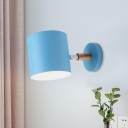 Tube Wall Lamp Macaron Metal 1 Bulb Blue Sconce Light Fixture with Adjustable Arm