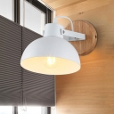 1 Bulb Domed Sconce Light Modern Metal Wall Mounted Lighting in White with Circle Wood Backplate