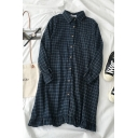 Preppy Looks Long Sleeve Lapel Collar Plaid Pattern Button Down Ruffle Trim Loose Fit Midi Swing Dress for Girls