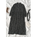 Black Pretty Long Sleeve Stand Collar Button Front All Over Floral Print Long Relaxed Swing Dress for Ladies