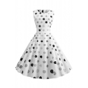 Cute Pretty Girls' Sleeveless Round Neck Polka Dot Print Maxi Pleated Flared Dress