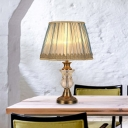 1 Head Nightstand Light Vintage Bedroom Table Lamp with Urn Hand-Cut Crystal in Blue