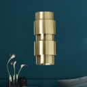 Contemporary 2 Bulbs Sconce Gold Cylinder Wall Mount Light Fixture with Metal Shade