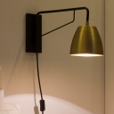 Contemporary 1 Head Wall Lighting Brass Wide Flare Sconce Light Fixture with Metal Shade