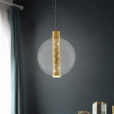1 Bulb Bedroom Pendant Light Modernist Gold Ceiling Suspension Lamp with Globe Clear Glass Shade