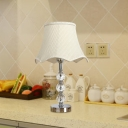 1 Bulb Crystal Night Light Antique Beige/Light Brown Scalloped Bedroom Table Lamp with Metal Round Pedestal