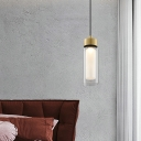 1 Bulb Bottle Pendant Light Contemporary Clear Glass Suspended Lighting Fixture in Black and Gold