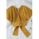 Womens Casual Plain Hollow Out Back Bow Tie Gathered Waist Loose Crop Blouse Top