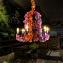 Purple 6 Bulbs Pendant Chandelier Industrial Metal Candelabra LED Flower Ceiling Hang Fixture for Restaurant