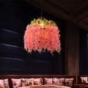 Floral Metal Suspension Pendant Antique 1 Head Restaurant LED Ceiling Light in Pink