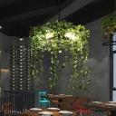 Black 5 Lights Chandelier Lighting Vintage Metal Circular Hanging Pendant Light with Green Plant