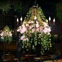 8 Lights Flower Chandelier Lighting with Candlestick Metal Industrial Restaurant Drop Pendant in Pink