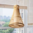 Japanese 1 Head Hanging Lamp Beige Tapered Pendant Light Fixture with Bamboo Shade
