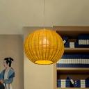 Spherical Pendant Lighting Japanese Bamboo 1 Head Ceiling Suspension Lamp in Beige