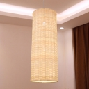 1 Head Cylindrical Pendant Lighting Japanese Bamboo Ceiling Suspension Lamp in Beige