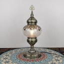 Bronze 1 Bulb Table Light Vintage Clear Crackle Glass Incense Burner Nightstand Lamp