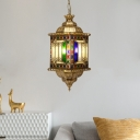 Traditional Lantern Chandelier 3 Lights Metal Hanging Ceiling Lamp in Brass for Dining Room