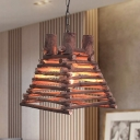 Wide Flare Pendant Light Japanese Wood 1 Bulb Suspended Lighting Fixture in Red-Brown