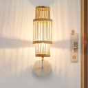 Wood Tubular Wall Lamp Chinese 1 Bulb Bamboo Sconce Light Fixture with Metal Curvy Arm
