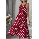 Burgundy Polka Dot Printed Surplice Neck Sleeveless Tie Waist Ruffle Hem Midi Slip Dress