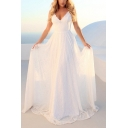 Womens Graceful White Lace Patchwork V-Neck Sleeveless Floor Length Gown Slip Dress