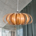 1 Bulb Teahouse Ceiling Lamp Asian Flaxen Hanging Pendant Light with Donut Wood Shade
