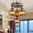 4 Heads Stained Glass Hanging Lighting Traditionalism Orange 2 Layer Lantern Restaurant Chandelier Lamp