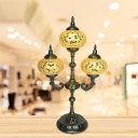 Yellow/Blue Sphere Table Lighting Traditional Stained Glass 3 Lights Coffee Shop Night Lamp