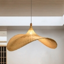 Hat Bamboo Pendant Lamp Asian 1 Head Flaxen Hanging Ceiling Light for Dining Room