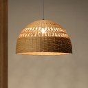 Japanese Hemisphere Hanging Light Bamboo 1 Head Suspended Lighting Fixture in Flaxen
