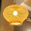 Chinese 1 Head Hanging Light Beige Lantern Pendant Lighting Fixture with Bamboo Shade