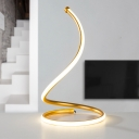 Contemporary LED Nightstand Lamp Silver/Gold Twisted Task Lighting with Acrylic Shade, White/Warm Light