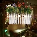 Green Drum Chandelier Pendant Light Industrial Metal 4 Heads Restaurant LED Hanging Lamp with Flower Decoration