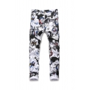 Punk Style Graffiti Print Guys Cool Black and White Slim Fit Moto Jeans