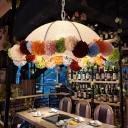 White 1 Light Ceiling Pendant Retro Metal Dome LED Drop Lamp with Flower Decor for Restaurant