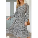 Pretty Fashion Long Sleeve V-Neck All Over Floral Printed Ruffle Trim Pleated A-Line Dress in Navy