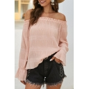 Amazing Chic Girls' Solid Color Bell Sleeve Off the Shoulder Stringy Selvedge Pleated Ruffled Relaxed Blouse Top