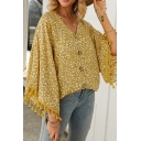Fancy Bell Sleeves V-Neck Button Down All-Over Floral Print Fringe Trim Plus Size Blouse Top