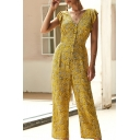 Amazing Women's V-Neck Button Down Ruffle Trim All Over Floral Printed Long Jumpsuit