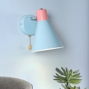 Blue Tapered Sconce Light Macaron 1 Bulb Metal Wall Lighting Fixture for Living Room