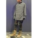 Black and White Stripe Printed Long Sleeves Mock Neck Loose Fit Casual Sweatshirt