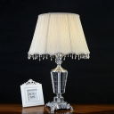 K9 Crystal White Table Light Urn Shape Single Bulb Vintage Night Lamp with Cone Fabric Shade
